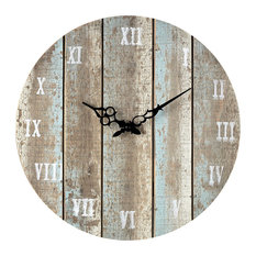 elk group wooden roman numeral outdoor wall clock light blue outdoor clocks