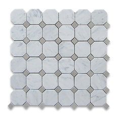 """12""""x12"""" Carrara White Octagon Mosaic Tile With Gray Dots Polished, Chip Size: 2"""""""