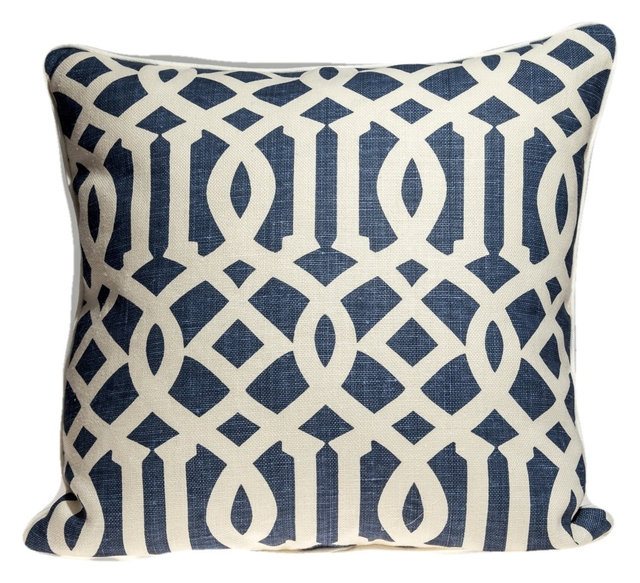 Schumacher Imperial Trellis Pillow Cover Navy And White