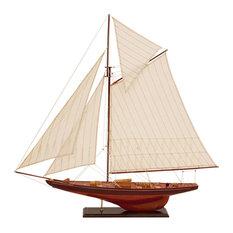 Brown Wood Sail Boat Replica Ship Mast Rigging Details Nautical Decor
