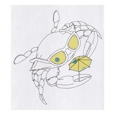 Crab Wearing Sunglasses Embroidered Flour Sack Kitchen Towel
