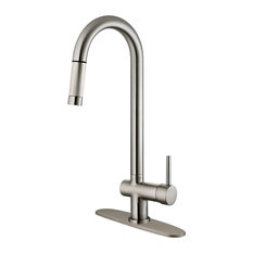 lesscare brushed nickel finish pulldown kitchen faucet lk13b 1 hole 3 - Modern Kitchen Faucets