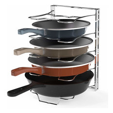Kitchen Cabinet 5 Adjustable Compartments Pan and Pot Lid Organizer Rack Holder