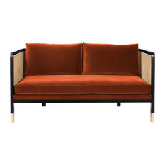 Fox Orange Wicker Sofa, Small