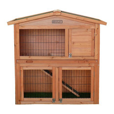 Charles Bentley & Son Ltd - Bentley Pets Large Wooden Hutch 2-Tier House Built in Run Cage - Small Pet Supplies