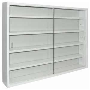 Large Display Cabinet, White Finished Particle Board With Four Glass Shelves