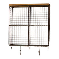 Wire Mesh Four Square Cubbies With Wooden Top, Raw