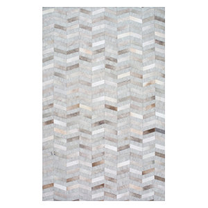 nuLOOM Handmade Leather Cowhide Mitch Area Rug, Silver, 8'x10'
