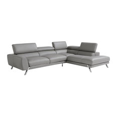 Mood Italian Leather Sectional Gray Right Facing Chaise