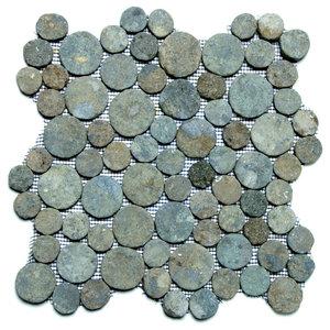 """12""""x12"""" Green Moon Pebble Stone Tile Sheet"""