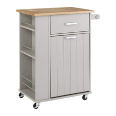 Mid Century Modern Kitchen Island Cart, Pull-Out Trash Bin and Drawer, Grey