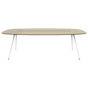 Large A-Lowha Long Board Table, Sand, White Frame
