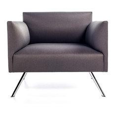 Led Lounge Chair, Oslo Gray Fabric, Polished Chrome Base