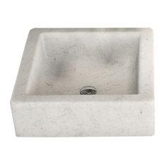 Dedalo Quadra Sink, White Marble Bianco Carrara, 40 Cm