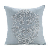 French Wedding Silk Decorative Pillow Cover, Damask Blue