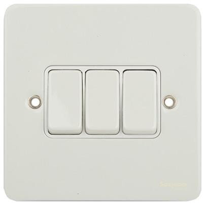 Switches & Sockets: Light Switches:Schneider Ultimate 3 Gang 2 Way Light Switch (Painted White) - Switches And  Outlets,Lighting