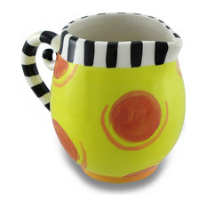 Colorful and Whimsical Circles and Stripes Ceramic  Creamer Server