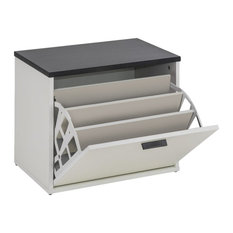 Lucky Shoe Cabinet, White and Black