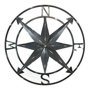 "Compass Rose Chrome Finish 12/"" Aluminum Windrose Nautical Wall Hanging Decor New"