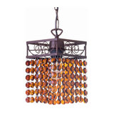 Flo Decorative Brushed Bronze and Amber Ceiling Pendant