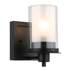 Designers Impressions - Designers Impressions Juno Collection Wall Sconce, 1-Light, Matte Black - Wall Sconces