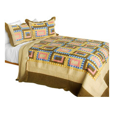 Dream High 3PC Cotton Contained Patchwork Quilt Set (Full/Queen Size)