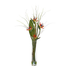 Bird of Paradise and Greens Artificial Arrangement in Red