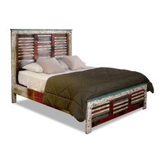 Crafters and Weavers - Solid Wood Distressed Style Bed - Panel Beds