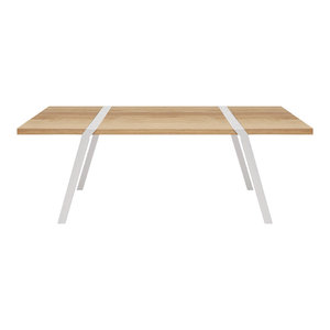 6-Seater Solid Oak Dining Table, White Steel