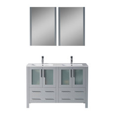 "Sydney 48"" Double Vanity Set With Mirrors, Metal Gray"
