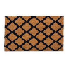 Printed Moroccan Blue Vinyl Back Coir Doormat 24X36