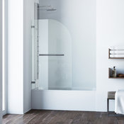 VIGO Orion Curved Bathtub Door in Chrome With Clear Glass