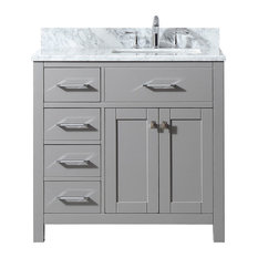 36-inch Single Bath Vanity In Cashmere Grey With Marble Top And Square Sink