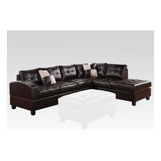 Acme Kiva Sectional Sofa With Two Pillows With Black Bonded Leather Match 51195