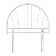 Single Headboard in White Finished Solid Metal, Simple and Contemporary Design