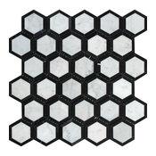 "12""x12"" Polished Italian Carrara Marble Vortex Hexagon, Black, Set of 10"