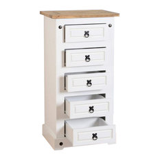 Seconique Corona White 5-Drawer Narrow Chest of Drawers