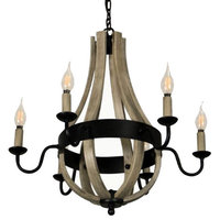 Canyon Home 6 Light Chandelier Tear Drop (Circled) Steel Frame