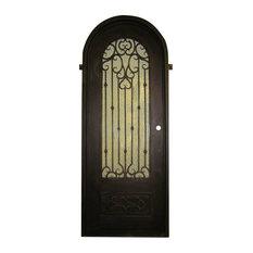 "Aroma 42""x96"", Iron Door Round Top, Right Hand Inswing, Sandblast Glass"