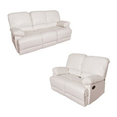 Lea 2 Piece Sofa Set with Reclining Loveseat and Sofa in White