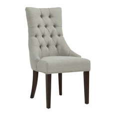 Inspire At Home   Button Tufted Accent Chair, Gray With Coffee Legs   Dining  Chairs