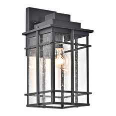 CHLOE Lighting Kenneth Transitional 1-Light Textured Black Outdoor Wall Sconce