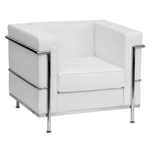 Black Reception Chair, White