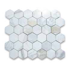 "10.75""x11.875"" Calacatta Gold Hexagon Mosaic Tile Polished, Chip Size 2"""
