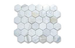 "10.75""x11.875"" Calacatta Gold Hexagon Mosaic Tile Polished, Chip Size 2"""