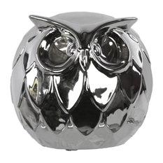 Ceramic Spherical Owl Figurine, Large