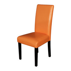 Villa Faux Leather Sunrise Orange Dining Chairs, Set of 2