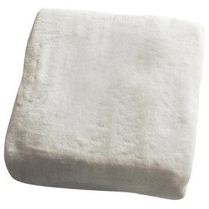 Flannel Fleece Throw, Cream