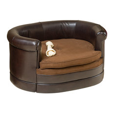 Gdfstudio Rover Oval Chocolate Brown Leather Pet Sofa Bed Dog Beds