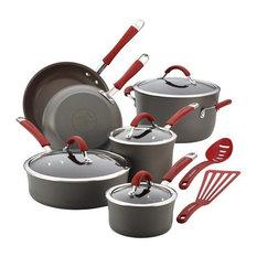 Rachael Ray 87630 Cucina Hard-Anodized Nonstick 12-Piece Cookware Set, Gray